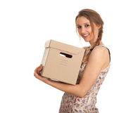 Young woman with cardboard boxe — Stockfoto
