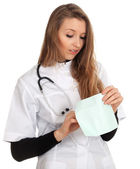 Lady doctor keeping envelope — Stock Photo
