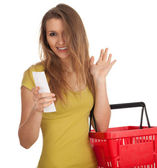 購入リストを持つ女性 — ストック写真