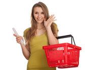 Frau mit Einkäufe Liste — Stockfoto