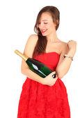 Ung kvinna med champagne — Stockfoto