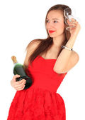 Young woman with champagne — Stock Photo