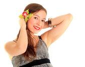 Jovem mulher com orquídea — Foto Stock
