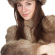 Woman in a fur coat and hat — Stock Photo