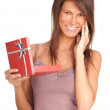 Woman and present box - Stock Photo
