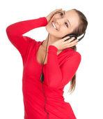 微笑着耳机的女孩 — 图库照片