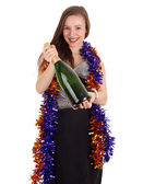 Woman with bottle of champagne — Stockfoto