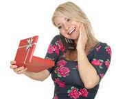 Volající žena a krabičce — Stock fotografie