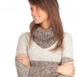 Woman in grey sweater — Stock Photo