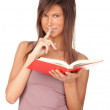 Young woman with book, series — Stock Photo