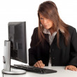 Stock Photo: Businesswoman with computer, series