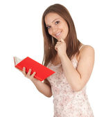 Young woman with book, series — Foto Stock