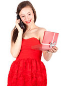 Calling woman and present box — Stock Photo