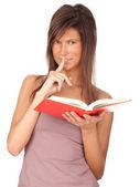 Giovane donna con libro, serie — Foto Stock
