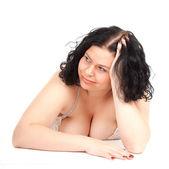 Smiling fat girl in underwear — Stock Photo
