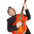 Man playing on electric guitar — Stock Photo