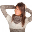 Woman in grey sweater - Stock Photo