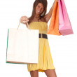 Young woman & coloured shopping bags — Stok fotoğraf
