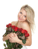 Naked woman with roses — Stock Photo