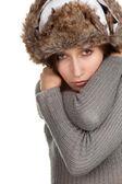 冬天帽子的女人 — 图库照片