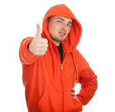 Adam turuncu sweatshirt — Stok fotoğraf
