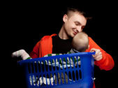 Happy young father and baby boy — Stock Photo