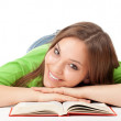 Young woman with book, series - Stockfoto