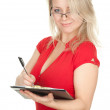 Young woman with clipboard — Stock Photo