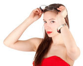 Young woman in red dress — Stock Photo