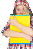 Student woman with note pad — Stock Photo