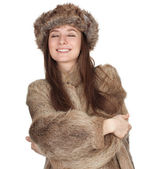 Woman in a fur coat and hat — Stok fotoğraf