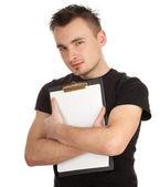 Mladý muž vedení prázdná schránka — Stock fotografie