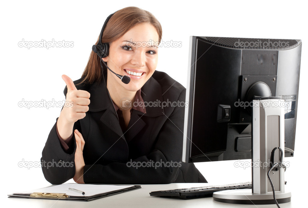 Happy young customer service operator girl wearing headset, working on computer, thumb up — Stock Photo #5100309
