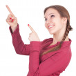 Young woman pointing — Stock Photo
