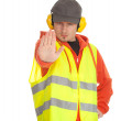 Worker in protective waistcoat, stop — Stock Photo #5169990