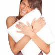 Stock Photo: Woman with pillow