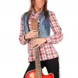 Stock Photo: Western lady with electric guitar