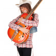 Western lady with electric guitar — Stock Photo