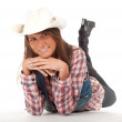 Western woman in cowboy hat — Stock Photo
