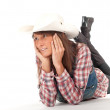 Western woman in cowboy hat — Stockfoto