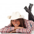 Western woman in cowboy hat — Foto Stock