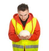 Worker in protective waistcoat — Stock Photo