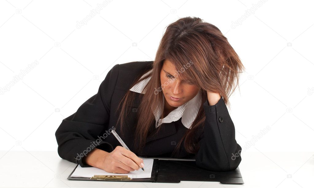 Thoughtful young businesswoman in black jacket with clipboard, series  Stock Photo #5170059