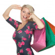 Young woman & coloured shopping bags — Stock Photo #5208086