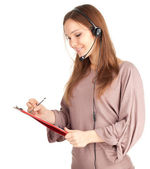 Call center lady, headset, clipboard — Stock Photo