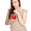 Stock Photo: Keeping silence womwith apple