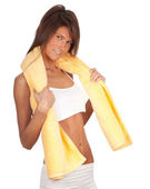 Young woman in lingerie with towel — Stock Photo