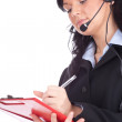 Call center woman with a headset — Foto Stock