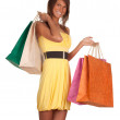 Young woman & coloured shopping bags — Stock Photo #5291633