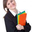 Businesswoman with colorful folders — Foto Stock